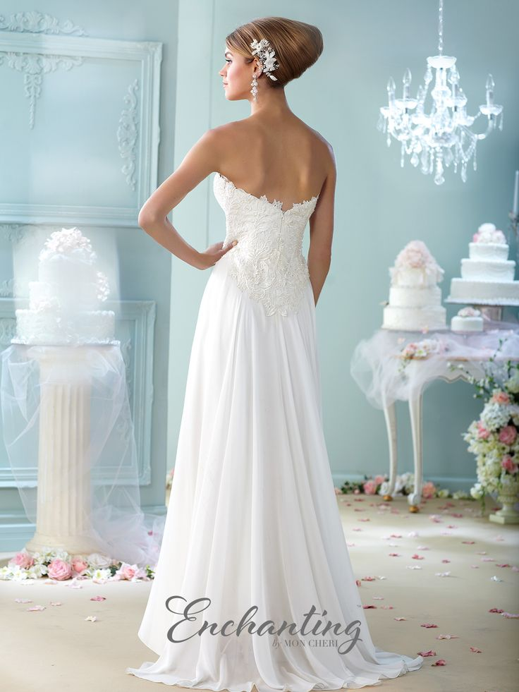 Strapless lace and chiffon A-line gown, sweetheart neckline, empire lace bodice, top skirt layer flows from center front bodice and ruffles down to open bottom, sweep train. Matching shawl and removable straps included. Sizes: 4 – 20, 16W – 26W Colors: Ivory, Champagne