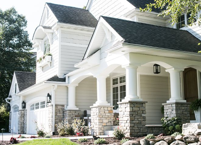 Home Exteriors: Neutral Exterior Paint Color: Benjamin Moore HC-173