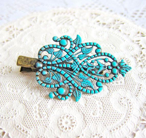 Cheveux Clip victorienne mariage demoiselle d'honneur cadeau personnalisé cheveux mariée Pin Turquoise Aqua quelque chose les filles de fleur bleu retour à épingle à cheveux école