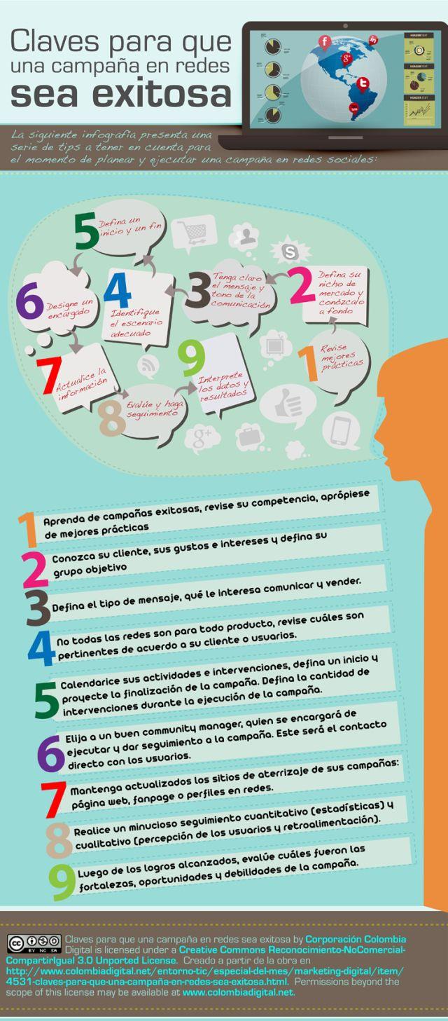 Claves para que una campaña en Redes tenga éxito #infografia #infographic #marketing