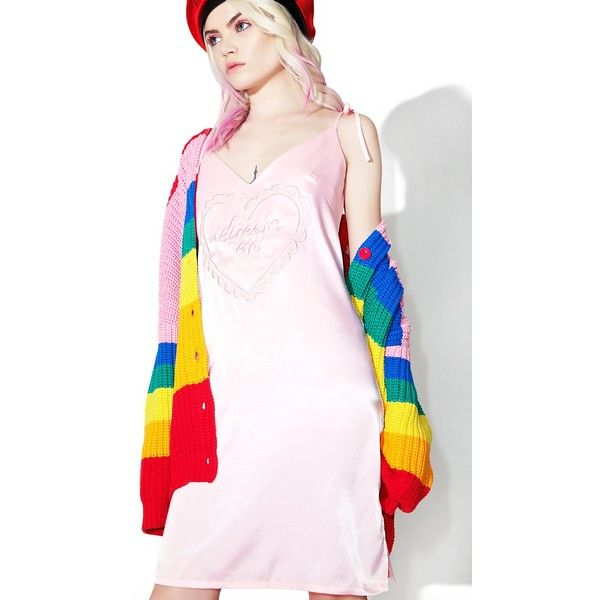 Lazy Oaf Dream On Satin Cami Dress ($88) ❤ liked on Polyvore featuring dresses, satin camisole, heart dress, pink dress, embroidery dress and pink satin dress