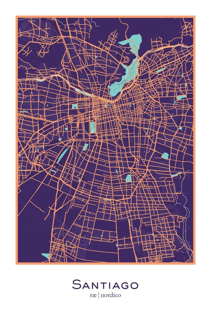 Santiago Chile Map Print 9 best Mapas