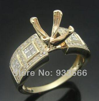 Твердые 14 К 585 желтое золото павэ 0.51ct полу-гора обручальное кольцо принцесса 7 x 7 мм