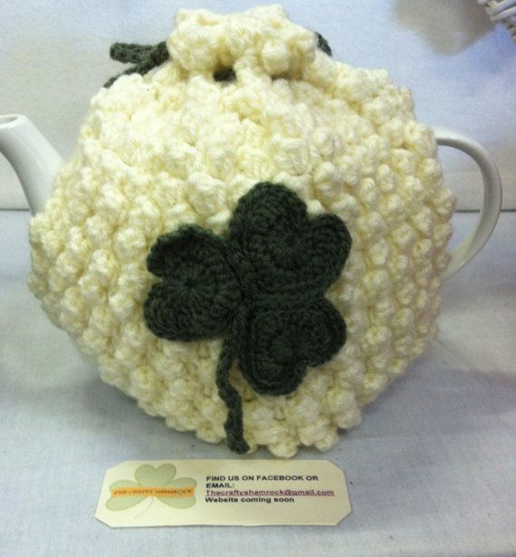 Crochet Cream Tea Cozy with Shamrock detail by TheCraftyShamrock, €25.00