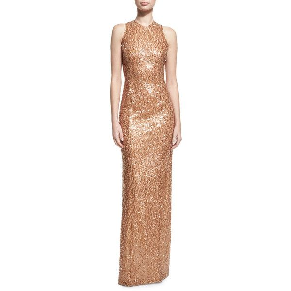 Galvan Sequined Racerback Column Gown ($1,495) ❤ liked on Polyvore featuring dresses, gowns, medium brown, brown evening gowns, sequin evening gowns, brown gown, brown evening dress and beige sequin dress
