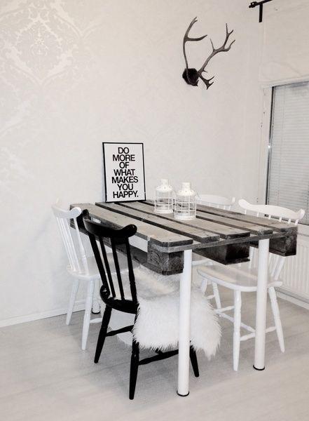 kuormalava,kuormalavapöytä,diy pöytä,ruokailutila,Tee itse - DIY,ruokapöytä,ruokailuryhmä,sarvet,eurolava