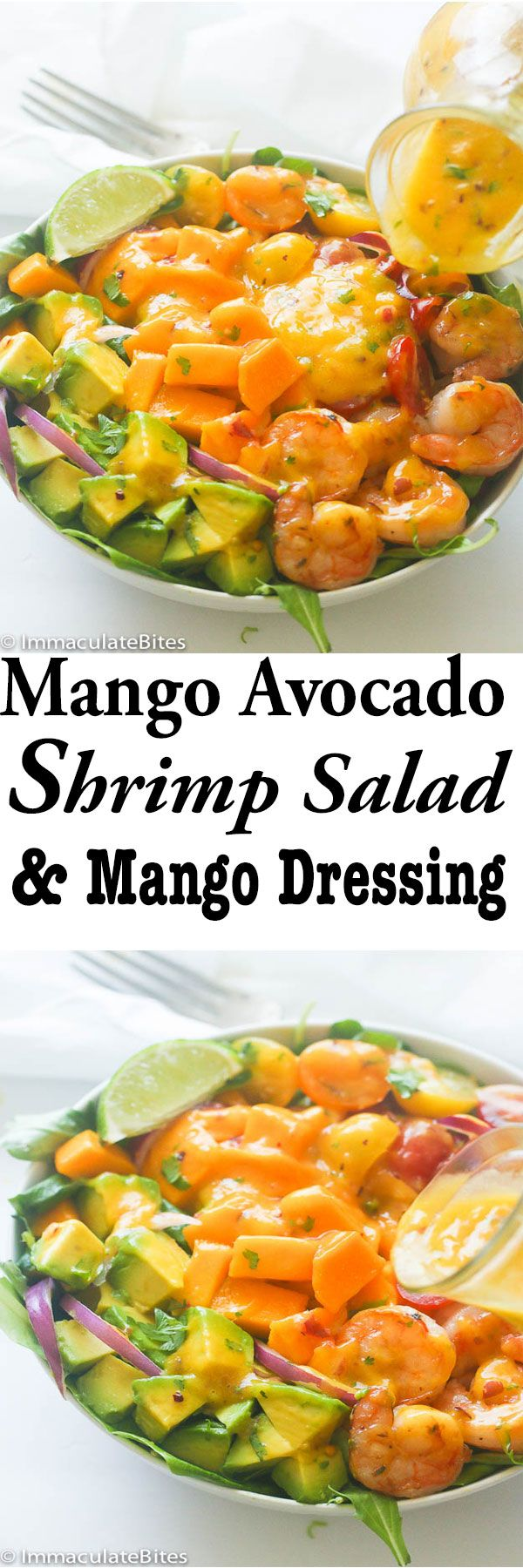 Mango Avocado Shrimp Salad & Spicy Mango Dressing- A hearty and delicious tropical salad with summer fruits and…