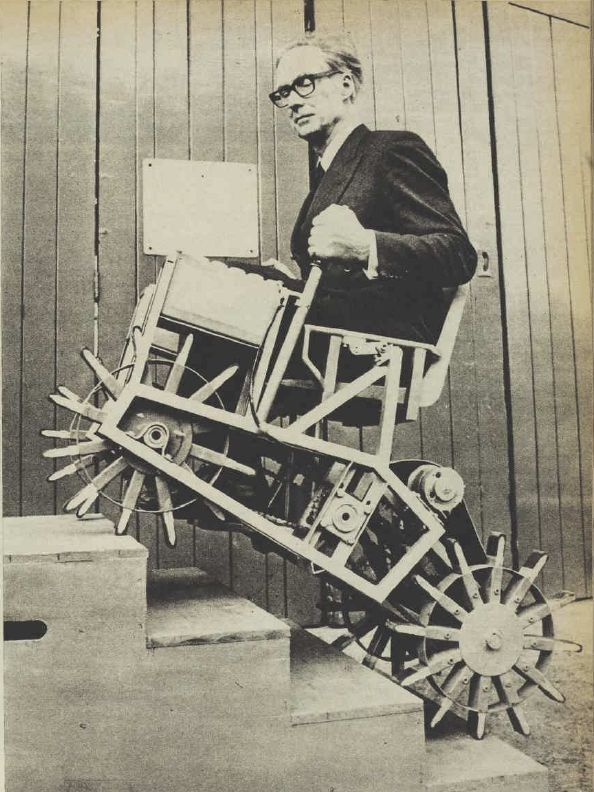 1964c – Walking Wheel Stair Climbers – Meredith Thring   #Retro #Invention