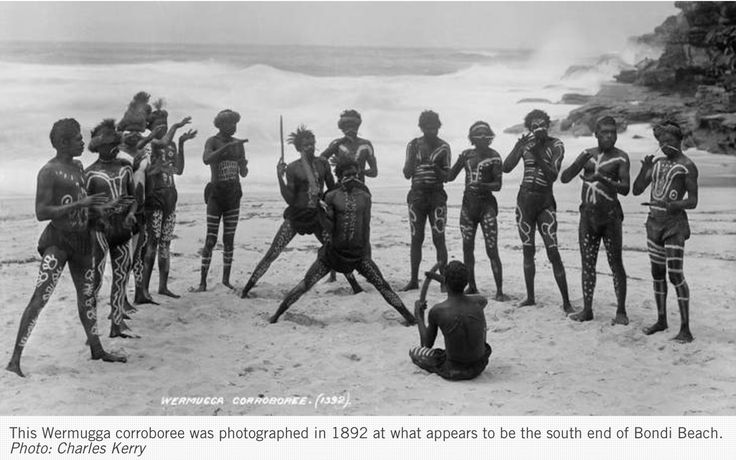 Wermugga corroboree in 1892 at south end of Bondi Beach photo Charles Kerry Coo-ee Aboriginal Art Gallery | Australian Aboriginal Paintings and Artworks