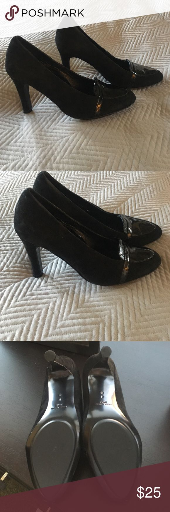 Beautiful black suede Dana Davis pumps Nordstrom Made in Italy  gently worn a few times. Great condition. Sz8 with 3 inch heel black suede with black patent leather detail on top Dana Davis Shoes Heels