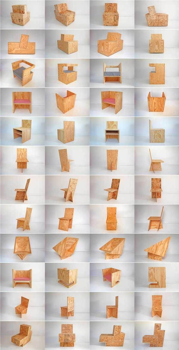Plywood chairs unassemble, flat pack, ship and send
