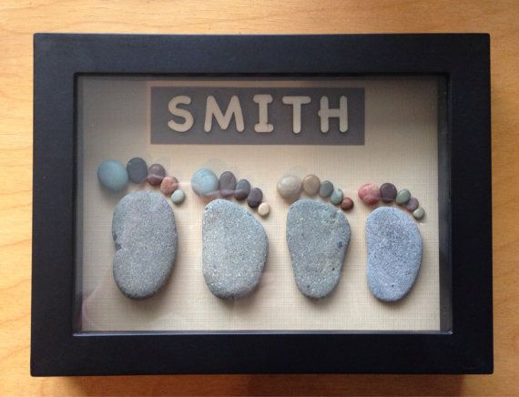 Pebble art, Personalized family representation, family wall art, family feet…