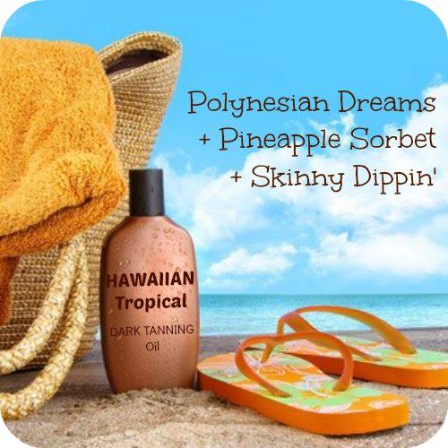 Polynesian Dreams + Pineapple Sorbet + Skinny Dippin' = Hawaiian Tropical Dark Tanning Oil #Scentsy Recipe http://http://www.partywithkrissy.com