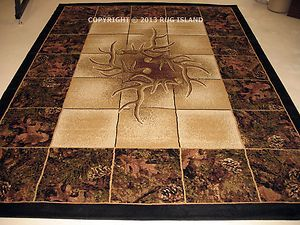 8x11 Lodge Cabin Forest Hunting Camo Buck Deer Antler Camouflage Decor Area  Rug