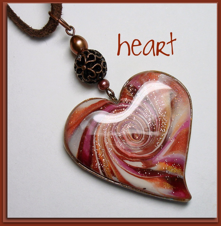 Polymer Clay Autumn Heart Pendant in rich shades of Cinnamon, Nutmeg Brown, & Pumpkin
