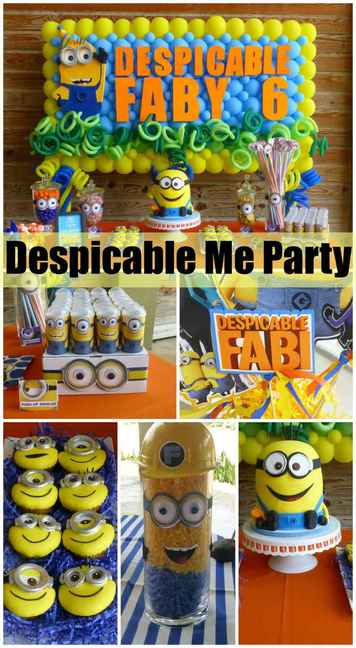 Amazing Despicable Me birthday party ideas, especially the Despicable Me birthday cake and cupcakes! See more party ideas at CatchMyParty.com. #despicableme #birthdayparty #girlbirthday