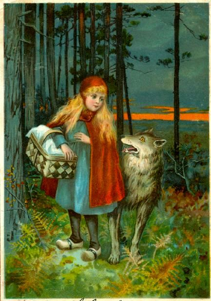 Little Red Riding Hood. The woods seem to have gotten dark.