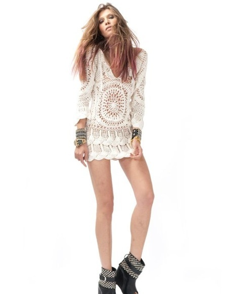 crochet dresses are the best for summer and definitely raise eyebrows. I love crochet in white, particularly. This one strikes my interest because of the unique design and long sleeves. Great for a campfire day  or a lounging afternoon at the beach.