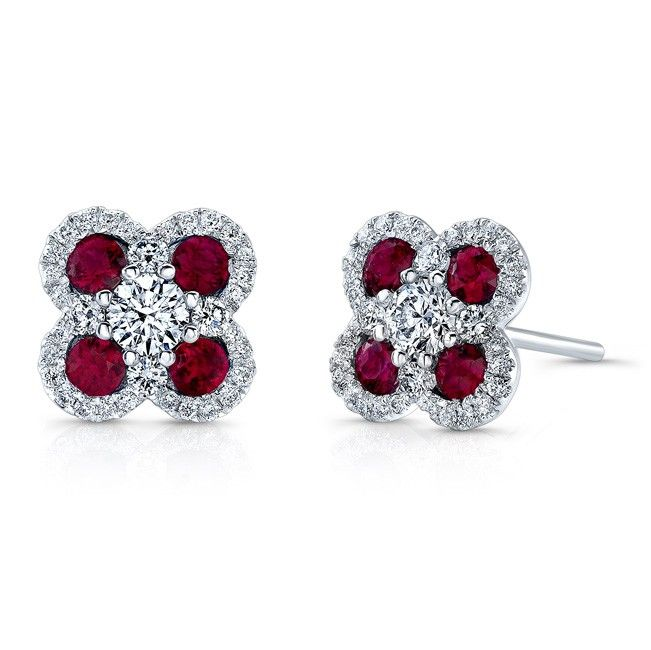 HIGH QUALITY NATURAL COLOR 18K WHITE GOLD TRENDY ROUND RUBY DIAMOND EARRINGS EMBEDDED WITH ROUND WHITE DIAMONDS, FEATURING 1.36 CARAT TOTAL WEIGHT