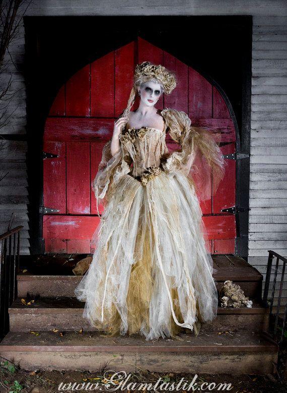 Größe große Elfenbein Tee gebeizt, Spitze und Tüll burlesque Kleid Victorian Zombie Corpse Bride w Kopf Stück und Strauß Kostüm bereit, Schiff