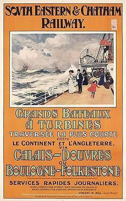 Edwardian Cross Channel Ferry Dover Calais by VintagePosterShopUK