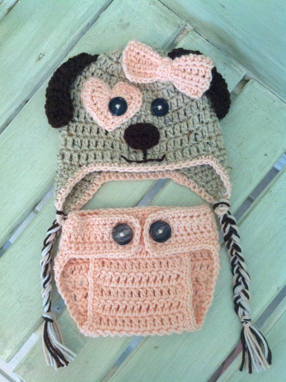 9d249f58eea Puppy Dog Hat and Diaper Cover Pattern Only, Crochet Hat and Diaper Cover  Pattern, Baby Boy, Baby Gi