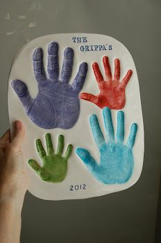 Fun craft ideas with foot and hand prints -- gifts for mom, dad, grandparents, memories.