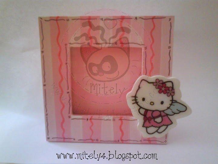 Porta foto de Kitty, lindo recuerdito de cumpleaños o bautizo!!! #mitely #bautizo #kitty #bebe #baby