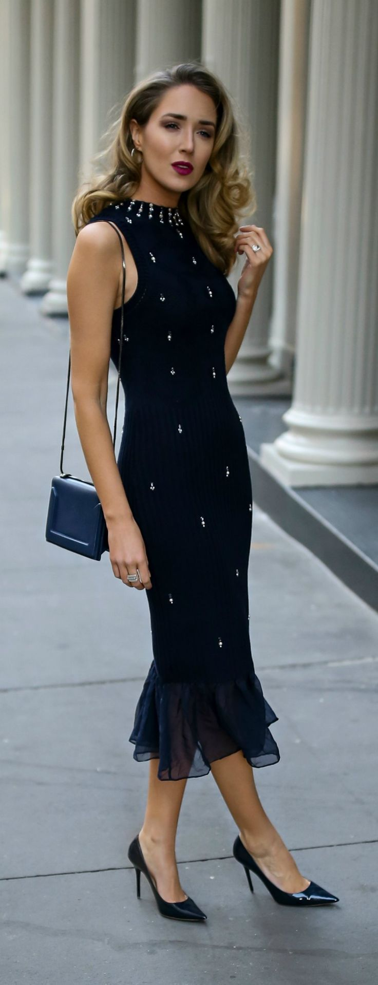 Hanukkah Dress // Navy ribbed midi sweater dress with pearl and crystal embellishments, classic black pumps and a black crossbody bag {Jonathan Simkhai, what to wear on Hanukkah, Hanukkah 2017, festive style, fall fashion, sweater dress, midi dress, fash
