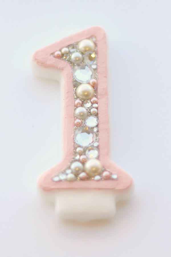 Pink and Grey Bedazzled 1st Birthday Candle by ModernSimpleCute, $25.00