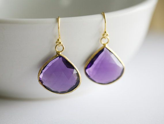 Real Purple amethyst EarringsLarge stone by tydesign on Etsy, $64.00