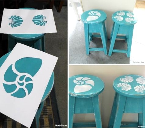 Coastal Decor, Beach, Nautical Decor, DIY Decorating, Crafts, Shopping | Completely Coastal Blog: Painted Beach Art Chairs