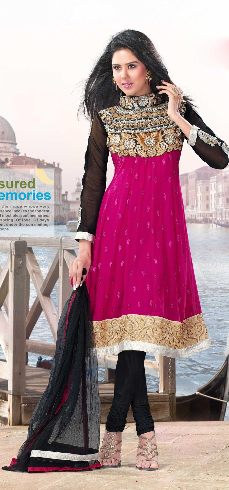 Black and Pink Faux Georgette Churidar Suit 17766