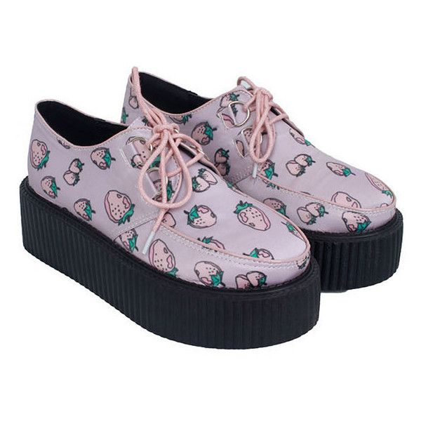 Sweet Women's Creepers Shoes With Strawberry Print and Lace-Up Design ❤ liked on Polyvore featuring shoes, creepers, laced up shoes, platform lace up shoes, laced shoes, platform shoes and lace up shoes