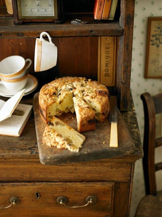 Homemade fruit cake on the old dresser; a country cottage welcome