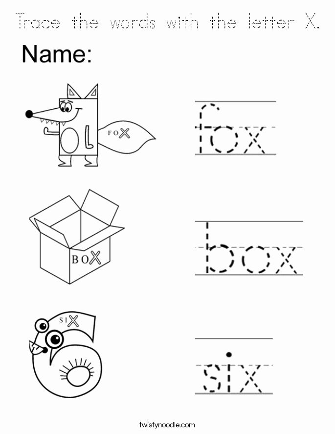 Letter X Coloring Sheet New Trace The Words With The Letter X Coloring Page Tracing Preschool Sight Words Lettering Coloring Pages