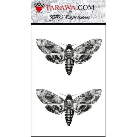 Vente de faux tatouage dessin papillon le sphinx tête de mort sur notre site de tatouage temporaire Tarawa.com fabriquant de décalcomanie français