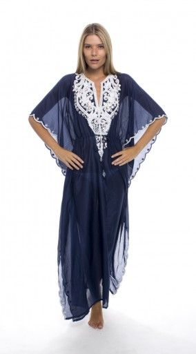 Navy Blue Caftan By Taj ...gorgeous color and embroidery.