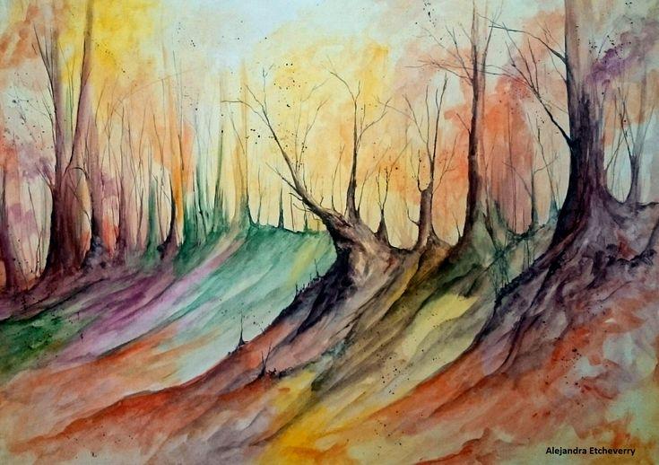 Amanecer de Invierno - Acrílico sobre tela (70x50cm) - Alejandra Etcheverry