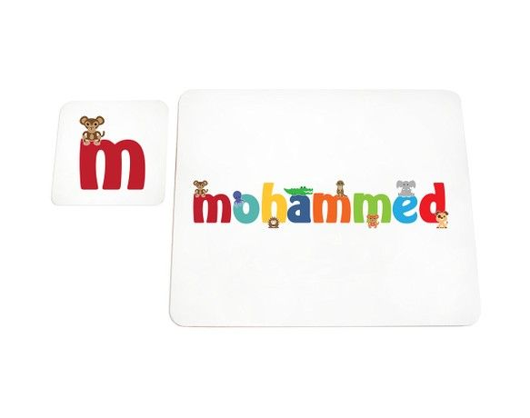 Feel Good Art High Gloss Placemat and Coaster for Babies/Toddlers (Mohammed)