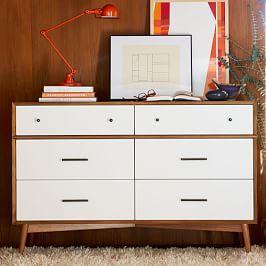 Mid-Century 6-Drawer Dresser - White + Acorn