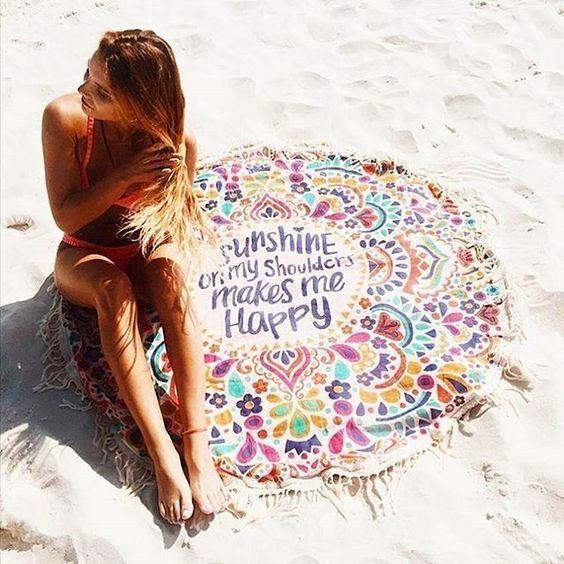 £6.67 - Round Summer beach towel eBay UK