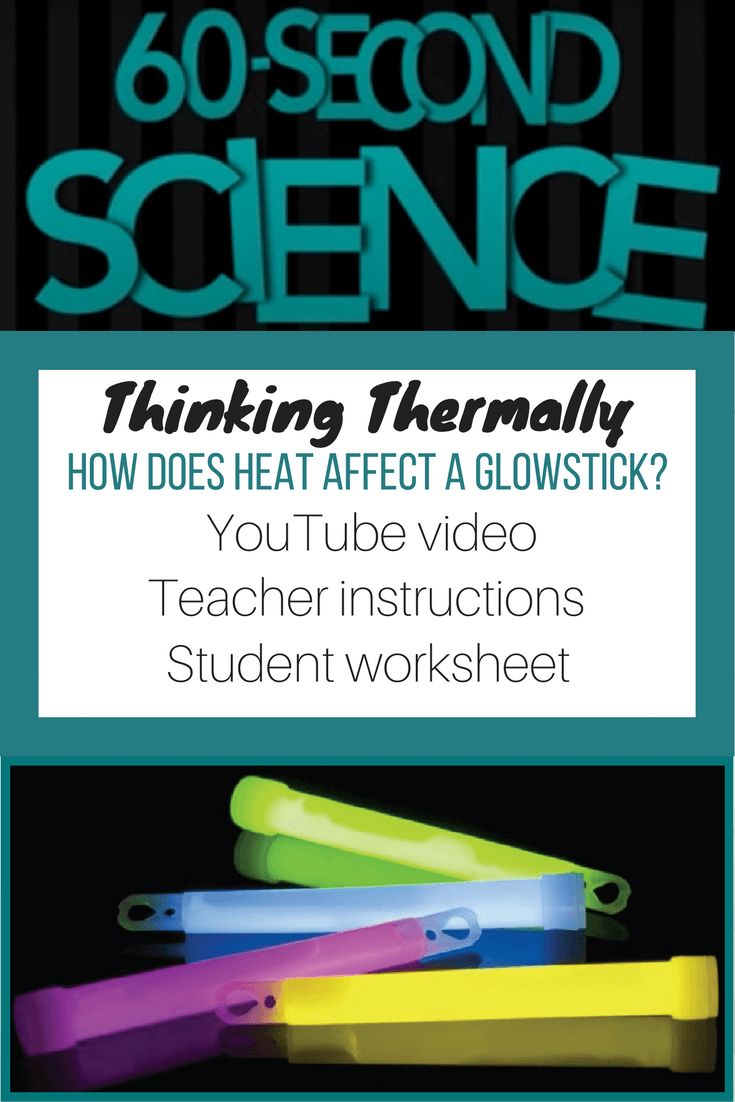 Thinking thermally: 60-second science video, downloadable instructions and student worksheet. Use glowsticks and water at three different temperatures to understand thermal energy.