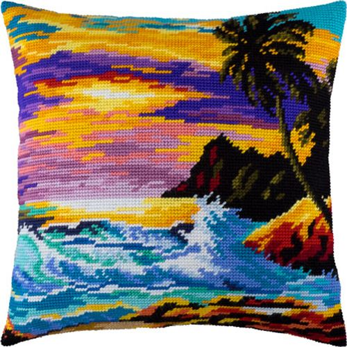 Do you want to have nice pillow on your sofa? I guess yes :)  This kit includes everything you need to have this easy, beautiful and fun project finished:  - canvas Zweigart with printed pattern...@ artfire