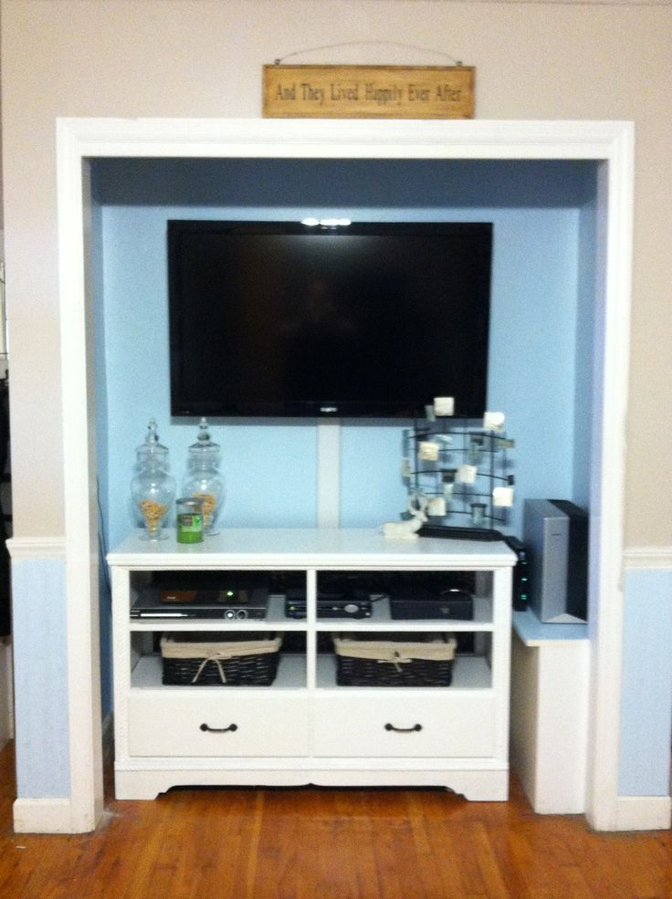 dresser into a tv unit and a closet into a entertainment unit i was able to do this in just a. Black Bedroom Furniture Sets. Home Design Ideas