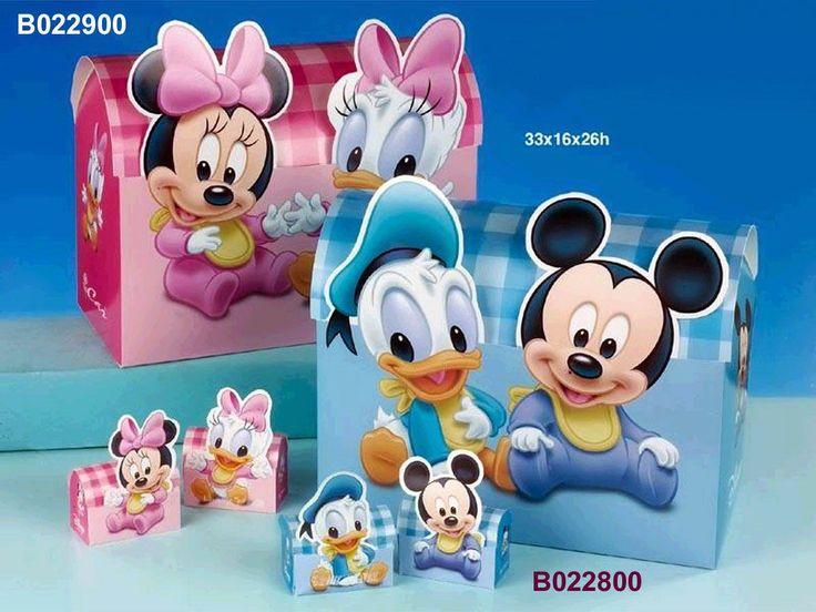 Carton boxes with Disney Mickey, Donald, Minnie and Daisy http://www.tortebomboniere.com/bomboniere/walt-disney-favor-cake.html