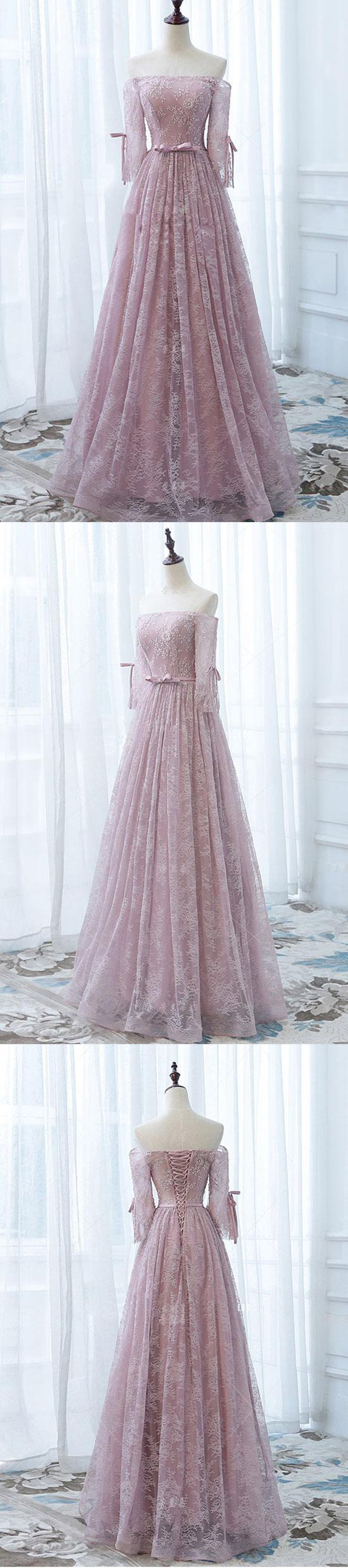 Pink lace strapless long A-line sweet16 prom dress with sleeves