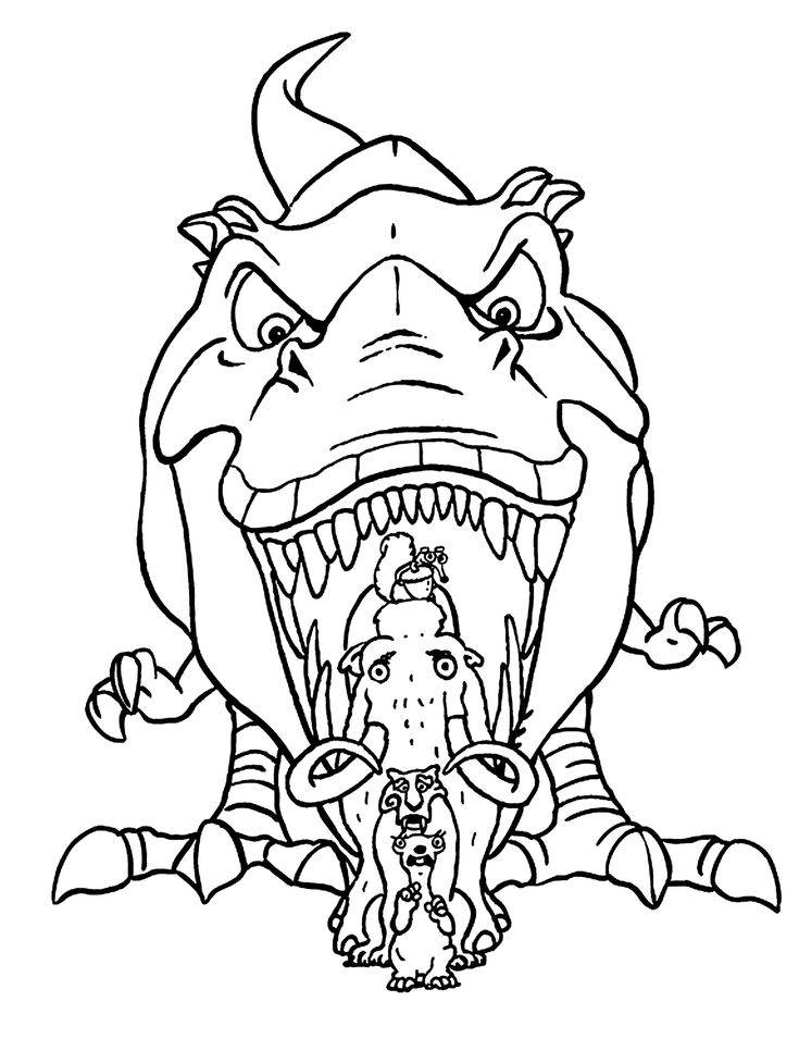 dinosaur from ice age coloring pages for kids printable free coloring pages pinterest. Black Bedroom Furniture Sets. Home Design Ideas