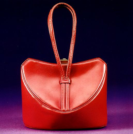 Red leather purse with a pinch clasp