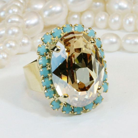 Turquoise Brown Ring Adjustable Ring Aqua Blue Champagne Oval Ring Cocktail Ring Statement Swarovski rhinestones,Gold ,Golden Shadow,GR39